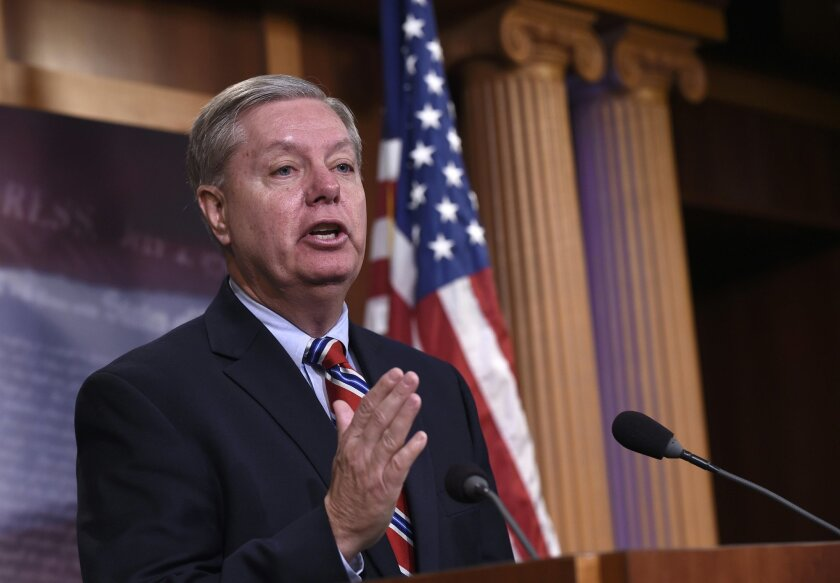 FILE - In this Jan. 21, 2016 file photo, Sen. Lindsey Graham, R-S.C. speaks during a news conference on Capitol Hill in Washington. In no-holds-barred remarks Thursday, Feb. 25, 2016, the South Carolina senator and unsuccessful presidential candidate said the GOP has lost all semblance of sanity. He predicted irrevocable losses in November if the GOP backs Trump. (AP Photo/Susan Walsh, File)