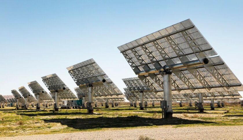 A solar power facility in Borrego Springs, Calif., generates electricity on Feb. 11, 2019.
