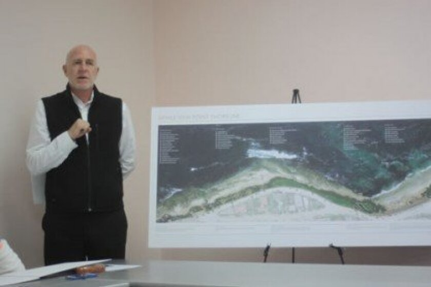 Marty Poirier presents details of the Whale View Point Shoreline Enhancement Project at the Parks & Beaches meeting.