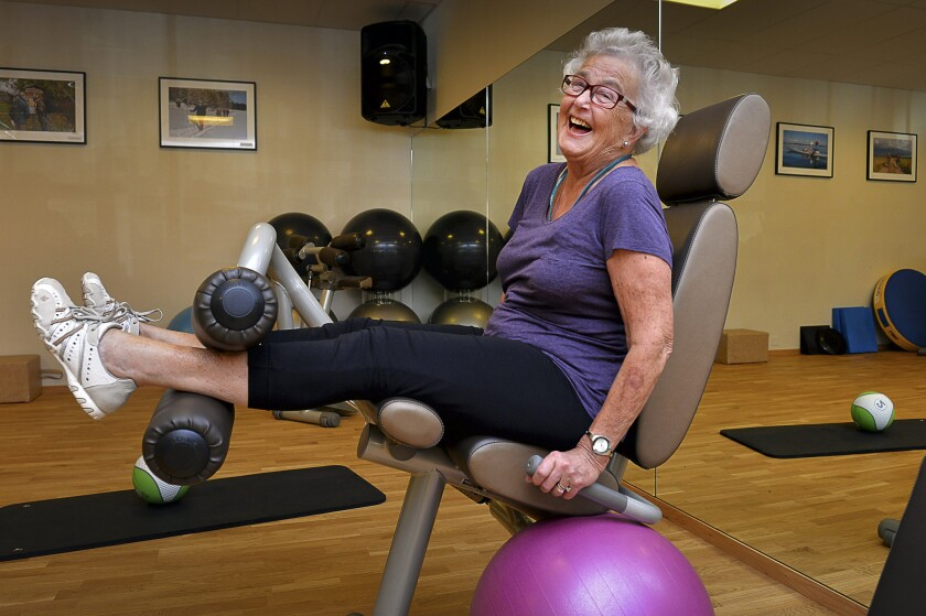 Marianne Blomberg, 80, works out at a gym in Stockholm in September 2013. A global index reflecting economic security, health and other factors ranks Norway and Sweden at the top in terms of the level of well-being for older people.