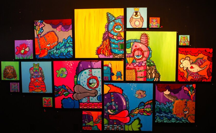 """Installation from """"Tangerines and Monster Dreams,"""" featuring work by Monstrinho at Thumbprint Gallery."""