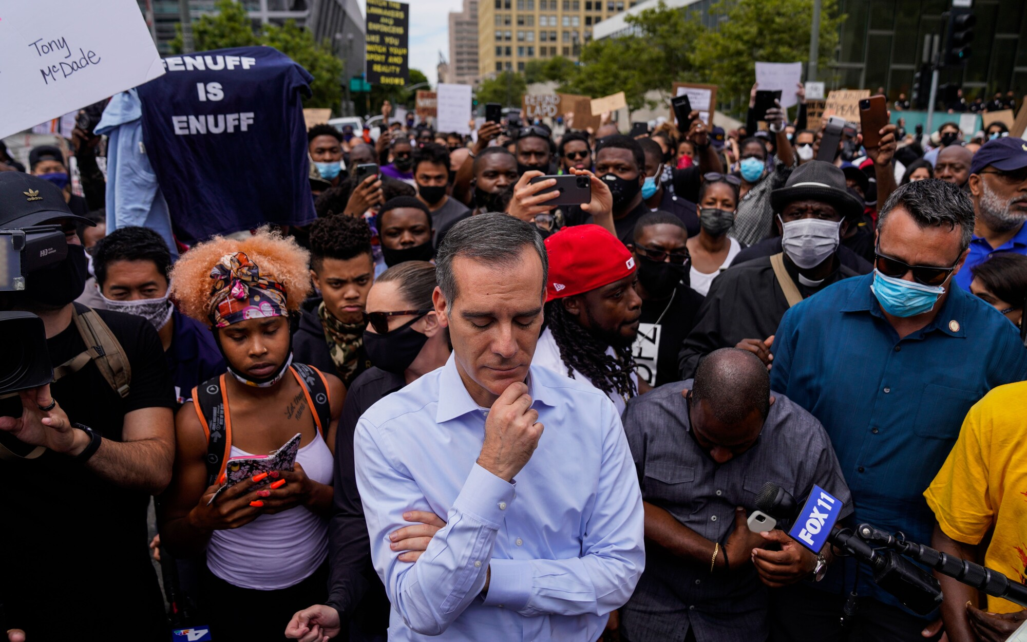 Mayor Eric Garcetti addresses protesters in early June.