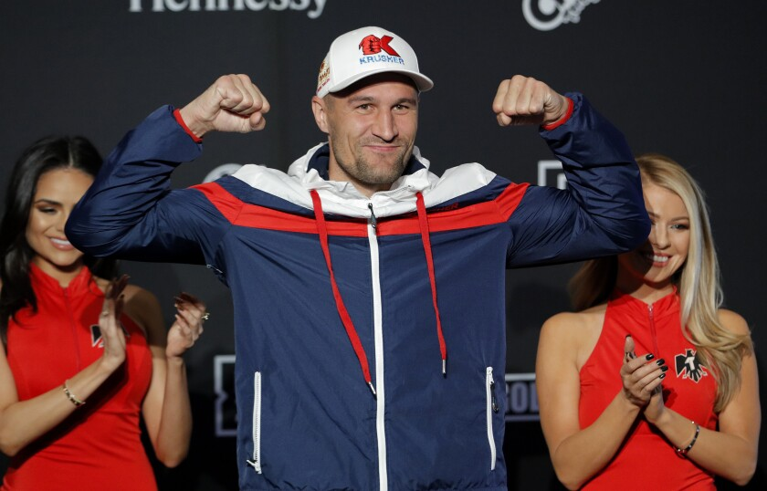 Sergey Kovalev poses for photographers during a ceremonial arrival for an upcoming boxing match on Oct. 29.