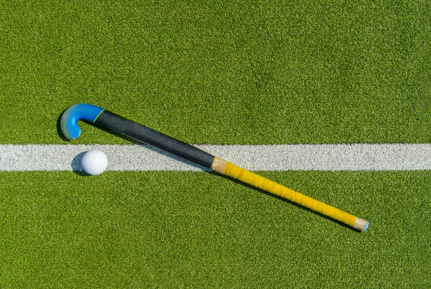 Field hockey stick and ball on green grass