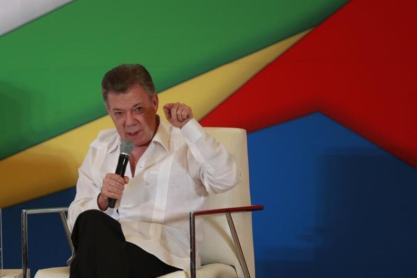 El presidente de Colombia, Juan Manuel Santos, participa hoy, lunes 23 de julio de 2018, durante el inicio de las actividades de la XIII Cumbre de la Alianza del Pacífico en Puerto Vallarta (México). EFE