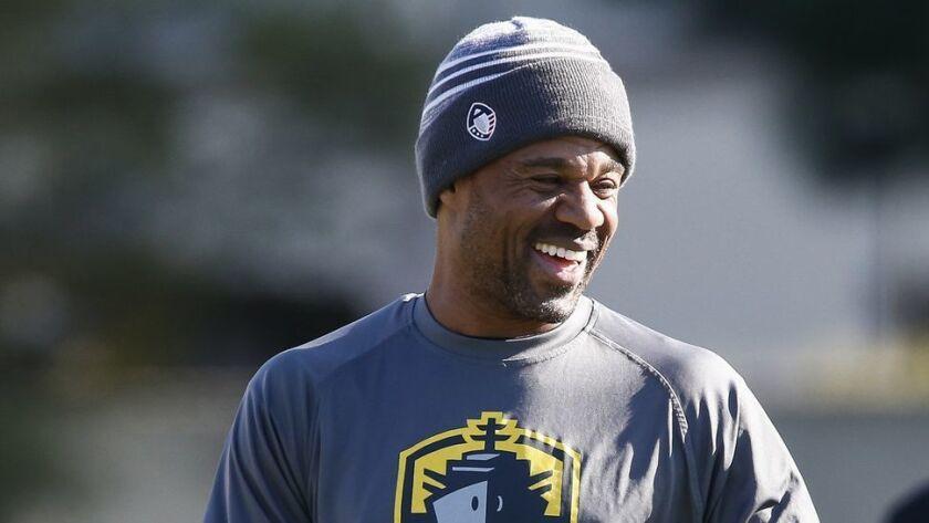 Fleet defensive backs coach Eric Allen smiles during practice on Wednesday.