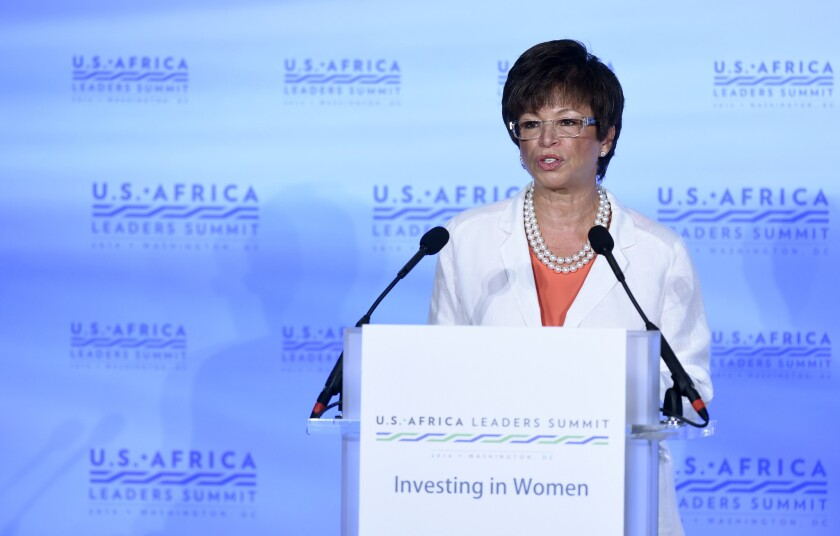 White House senior advisor Valerie Jarrett speaks in Washington last month.
