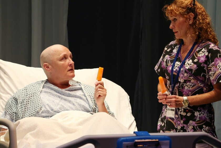 """Deborah Gilmour Smyth (left) and Cynthia Gerber in Lamb's Players Theatre's production of """"Wit."""""""