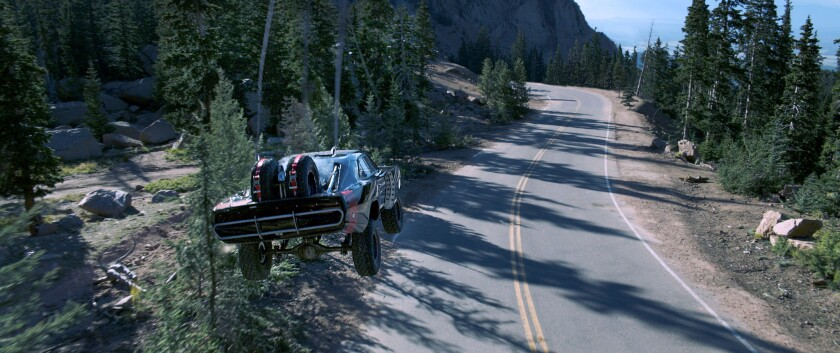 """A scene from """"Furious 7,"""" which easily topped expectations at the box office this weekend."""
