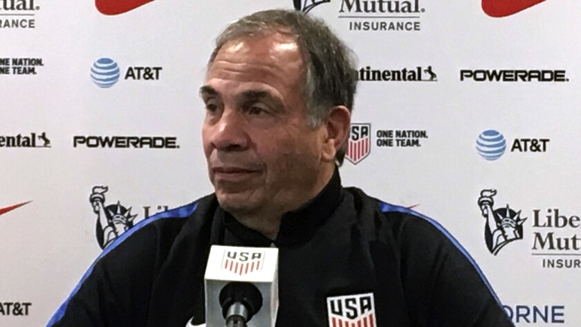 United States men's national soccer team head coach Bruce Arena speaks to the media during a press c