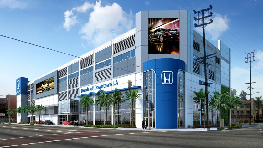 Honda of Downtown Los Angeles will break ground Thursday on a five-story, $30-million dealership at 740 W. Martin Luther King Jr. Blvd. The site, now a vacant lot, is south of the Memorial Coliseum. Above, a rendering of the project.