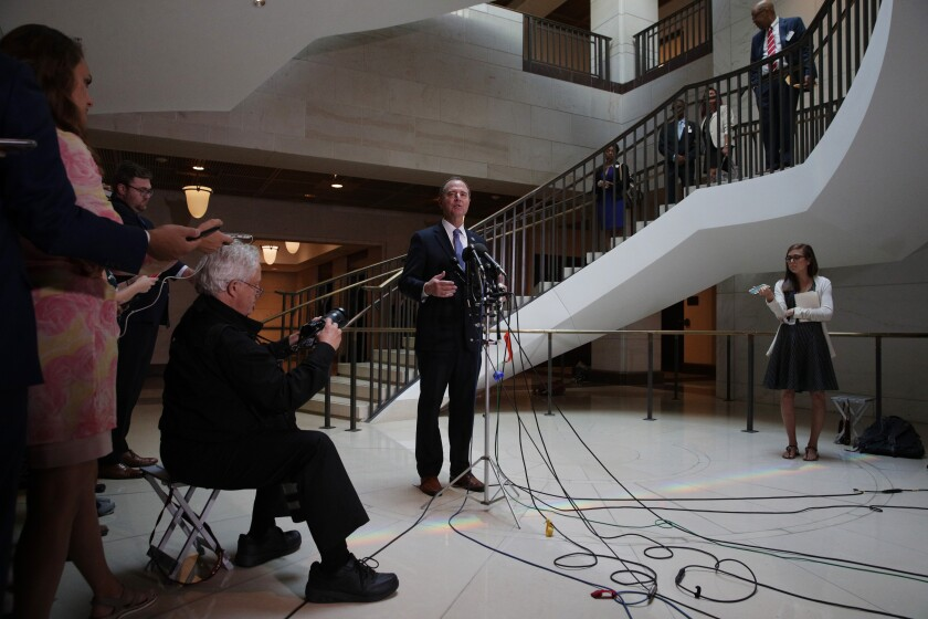 House Intelligence Committee Chairman Adam B. Schiff (D-Burbank) speaks to the media Thursday after a closed-door hearing with Michael Atkinson, the inspector general for the intelligence community.