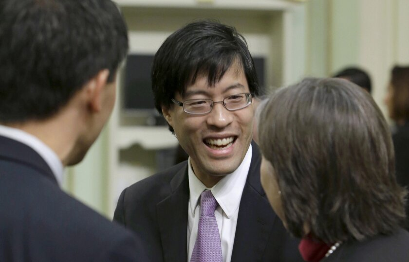 State Sen. Richard Pan, D-Sacramento, center, has faced threats for years over his sponsorship of measures limiting vaccine exemptions.