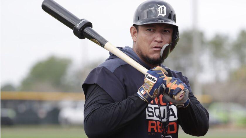 Detroit Tigers first baseman Miguel Cabrera waits to bat at the Detroit Tigers spring training baseball facility, Monday, Feb. 18, 2019, in Lakeland, Fla.