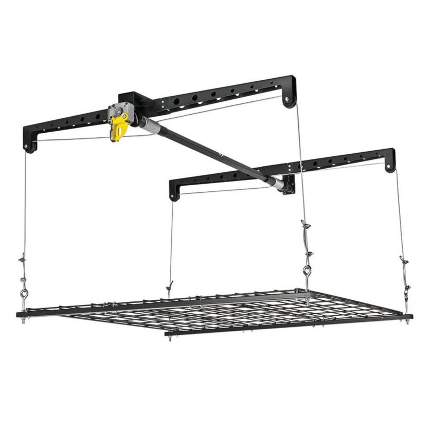 This photo provided by Home Depot shows how to increase the storage potential of your garage with the Racor HeavyLift Storage Platform, a hanging platform that allows homeowners to store heavy, bulky items that take up too much floor space. Load and lift items up to 8 feet to the ceiling without ha