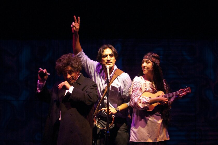 "Richard Montoya, René Millán and Stephanie Beatriz (left to right) in La Jolla Playhouse's ""American Night: The Ballad of Juan José."""