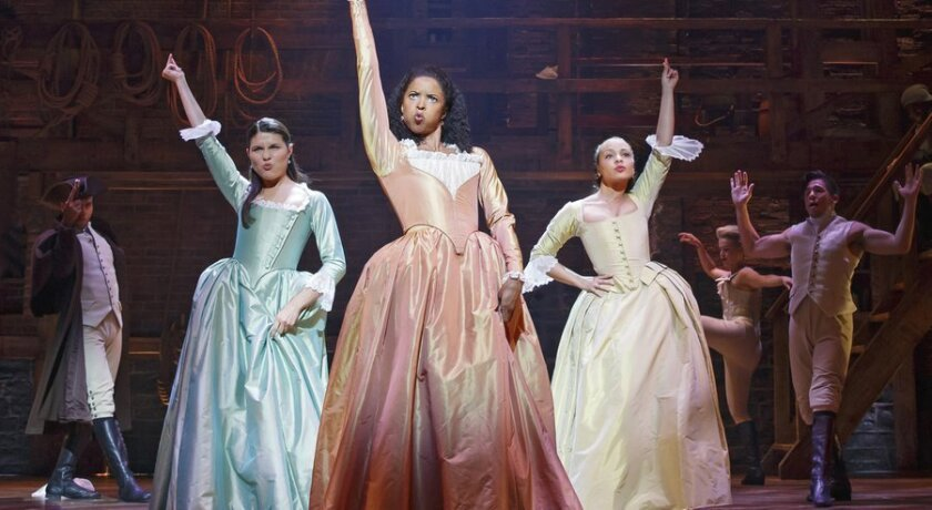 "Phillipa Soo, Renee Elise Goldsberry and Jasmine Cephas Jones (left to right) in ""Hamilton"" at the Richard Rodgers Theatre in New York. (/ (Joan Marcus/Sam Rudy Media Relations via AP))"