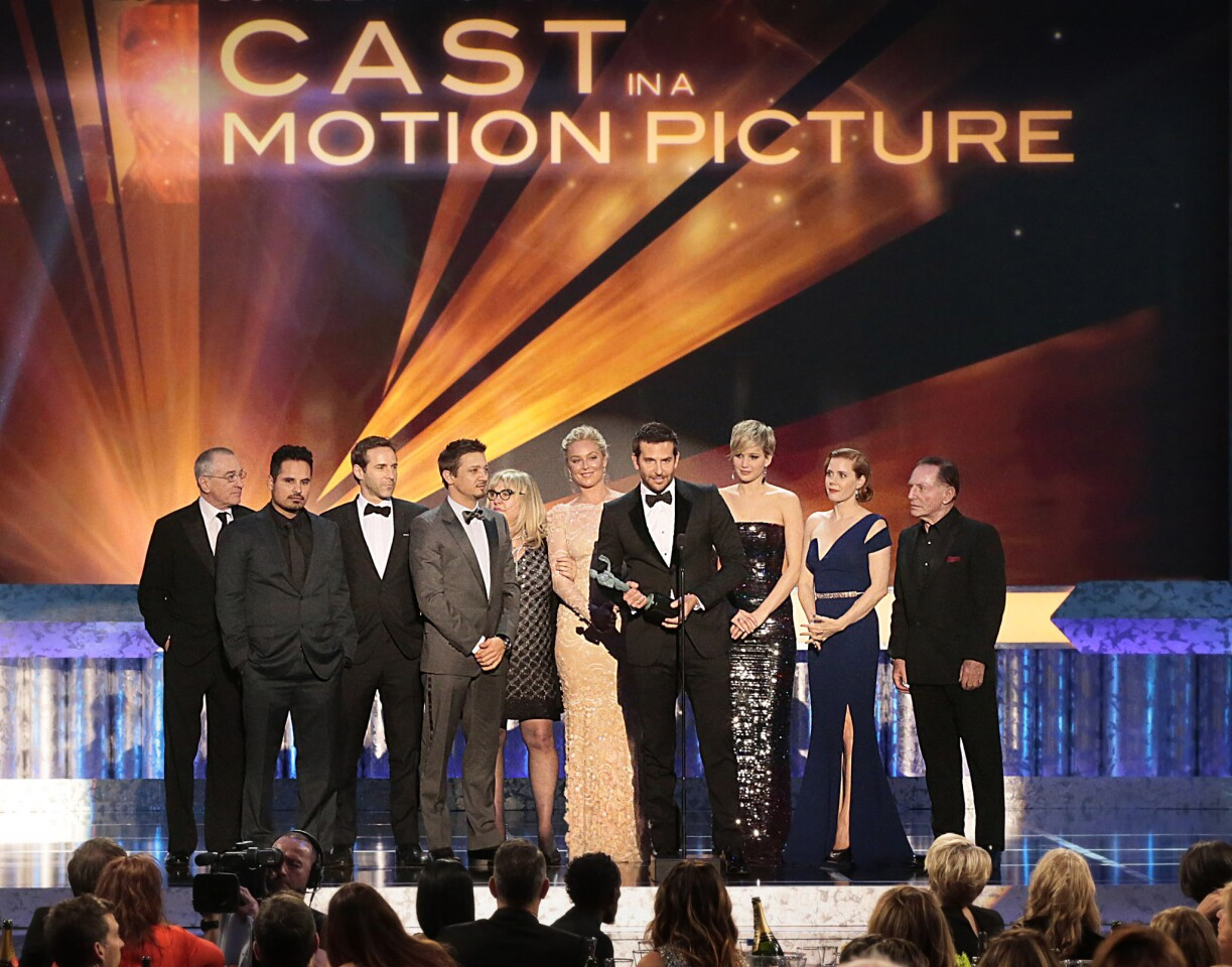 """The cast of """"American Hustle"""" wins the award for motion picture. Bradley Cooper gives his praises for the film's director David O. Russell."""