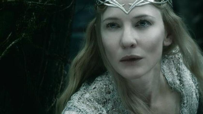 "This photo released by Warner Bros. Pictures shows Cate Blanchett as the Elf Queen Galadriel in the fantasy adventure ""The Hobbit: The Battle of the Five Armies,"" a production of New Line Cinema and Metro-Goldwyn-Mayer Pictures (MGM), released by Warner Bros. Pictures and MGM. The movie opened Dec. 17, 2014. (AP Photo/Copyright Warner Bros. Entertainment/MGM)"