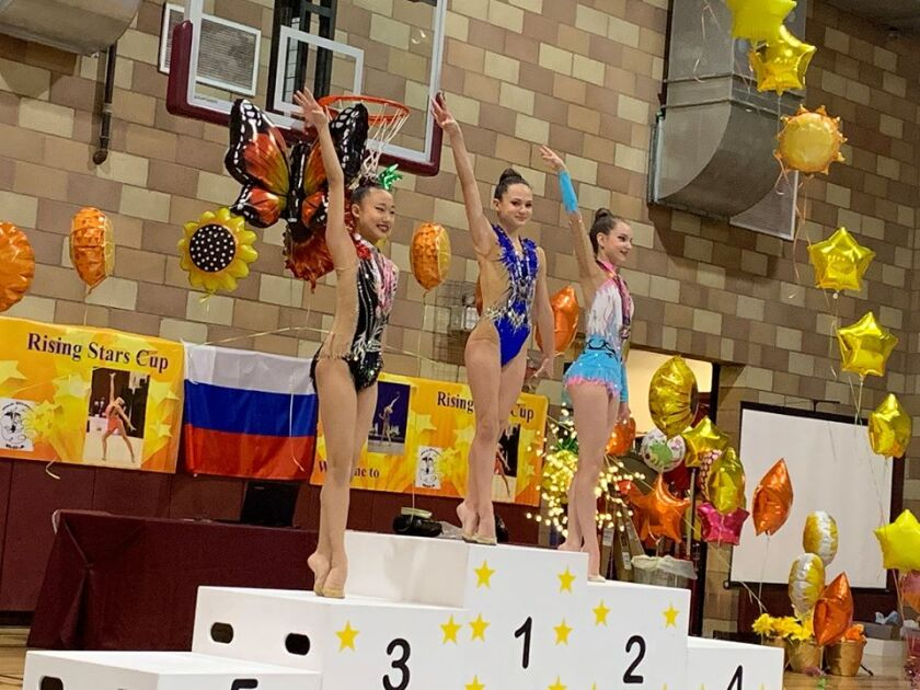 Ariana Kogan, an 8th grade student at Carmel Valley Middle School, earned first place with the Ribbon routine.