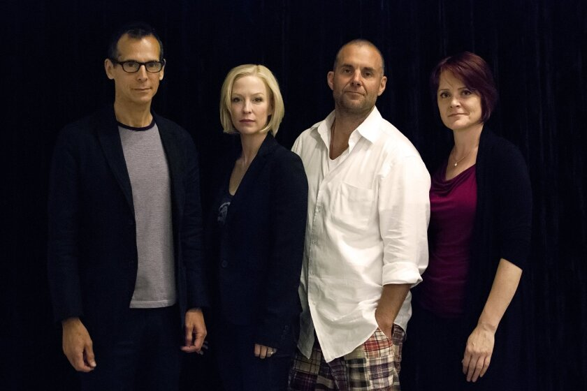 """T. Ryder Smith, Caitlin Muelder, Lucas Caleb Rooney and Erika Rolfsrud (left to right) appear in the Old Globe's San Diego premiere of """"God of Carnage."""""""
