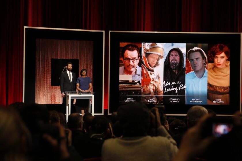 Actor John Krasinski and Academy President Cheryl Boone Isaacs announce the Oscar nominees for lead actor for the 88th Academy Awards.
