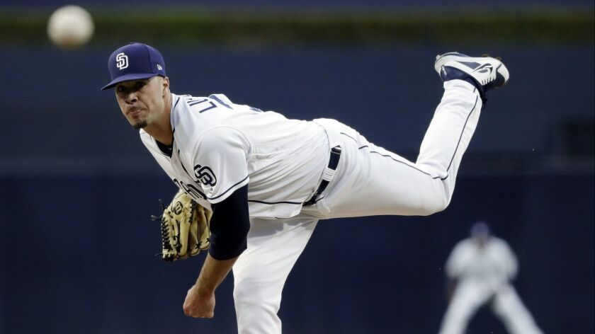 Joey Lucchesi pitches against the Rockies in his most recent start, May 14 at Petco Park.