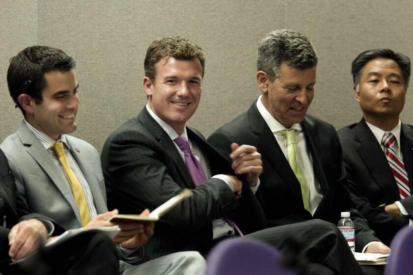 Most of the 17 candidates who are campaigning to succeed Rep. Henry A. Waxman (D-Beverly Hills) attended a forum in Torrance on Saturday. Among them were, from left, Theo Milonopoulos, David Kanuth, Kevin Mottus and state Sen. Ted Lieu (D-Torrance).