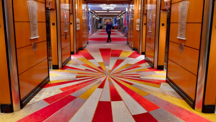 A corridor aboard the Cunard cruise liner Queen Mary 2, which underwent $132-million makeover, took the 2017 top spot for mega-cruise ships among Travel + Leisure readers.