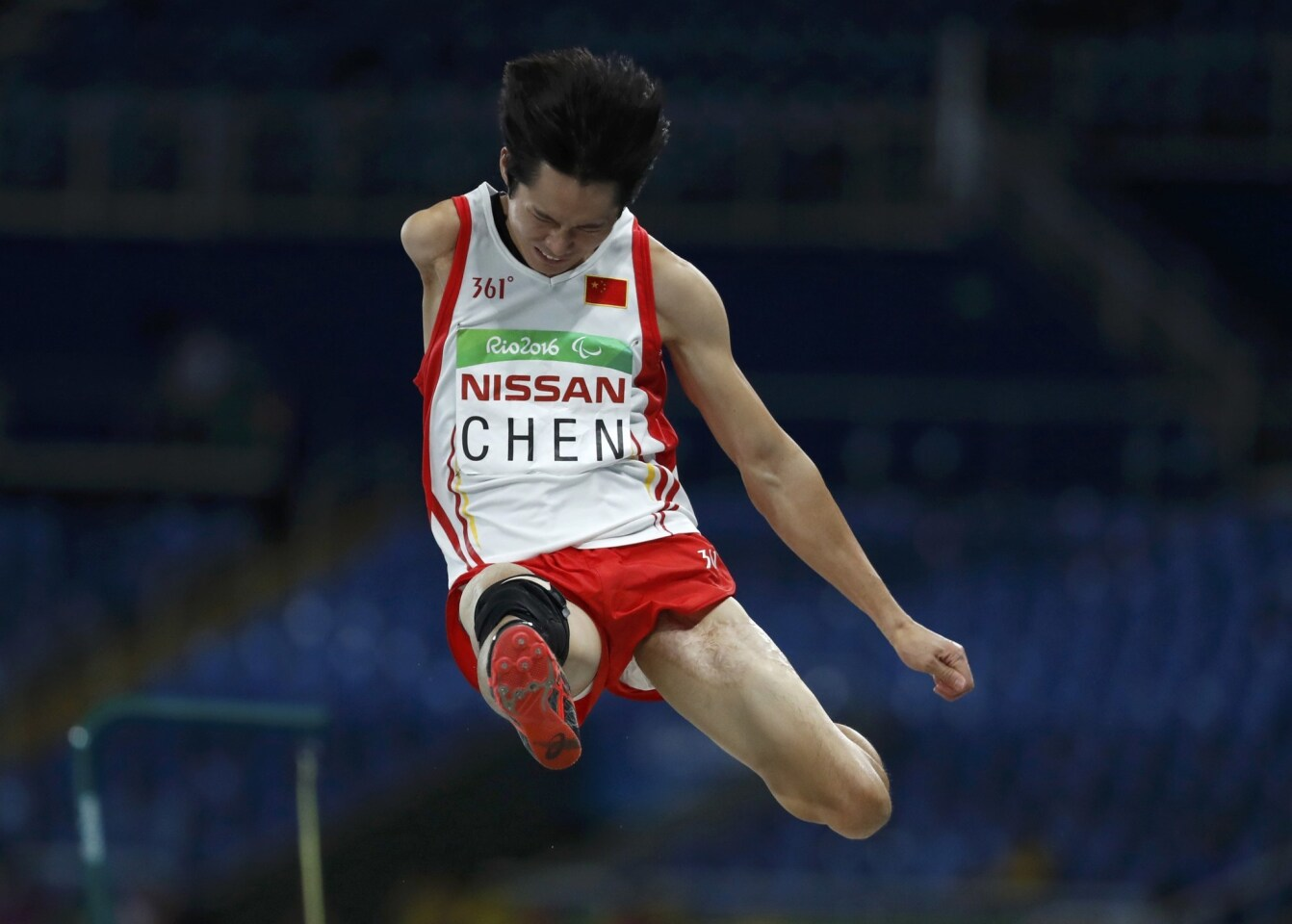 2016 Rio Paralympics - Athletics - Men's Long Jump - T47 Final - Olympic Stadium - Rio de Janeiro, Brazil - 14/09/2016. Chen Hongjie of China competes. REUTERS/Ricardo Moraes FOR EDITORIAL USE ONLY. NOT FOR SALE FOR MARKETING OR ADVERTISING CAMPAIGNS. ** Usable by SD ONLY **