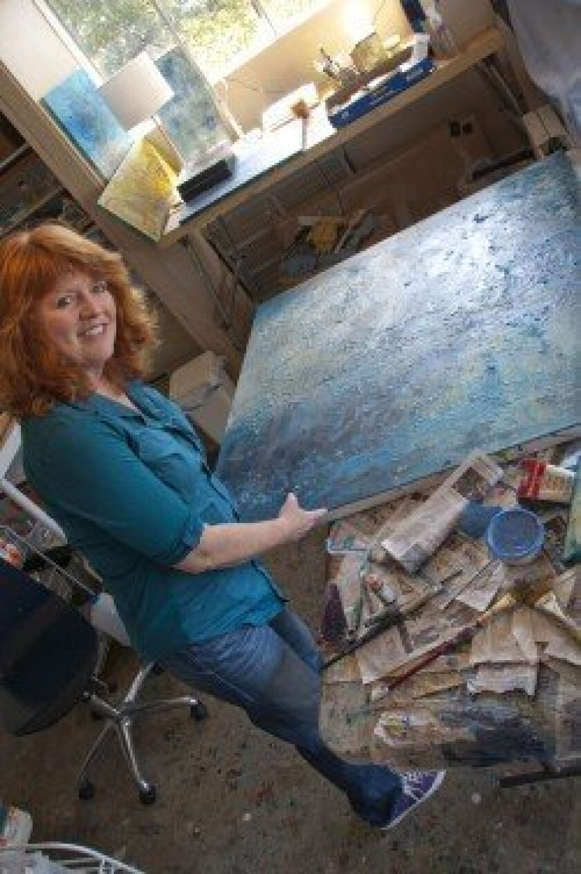 Artist Dawn Kureshy works out of her North Park studio and the garage of her Del Mar home (pictured). Photo: Claire Harlin