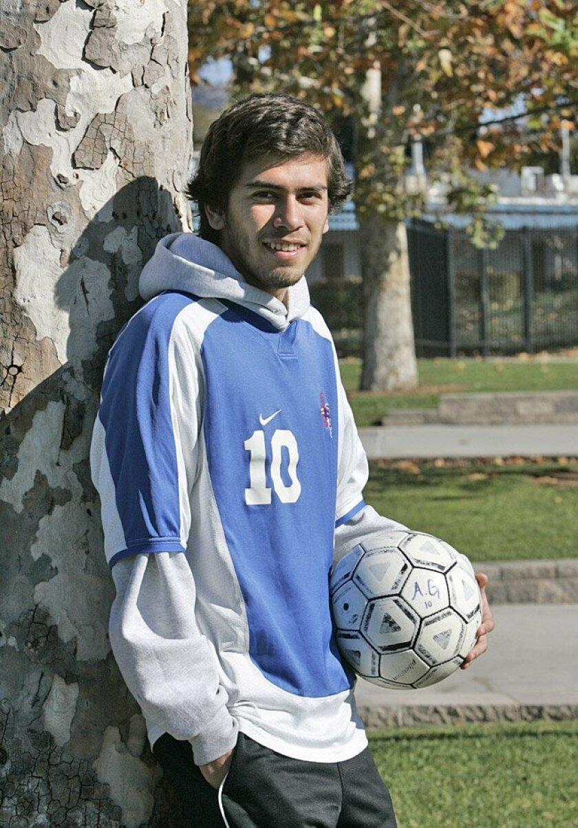 Orange Glen High School soccer player Adrian Gutierrez is an all-leaguer for the Patriots. The senior is considering attending Chico State and Cal State Dominguez Hills, among others.