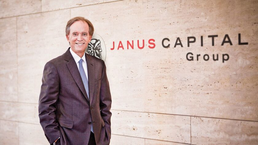 Happier times: Bill Gross at the announcement of his move to Janus from Pimco in 2014.