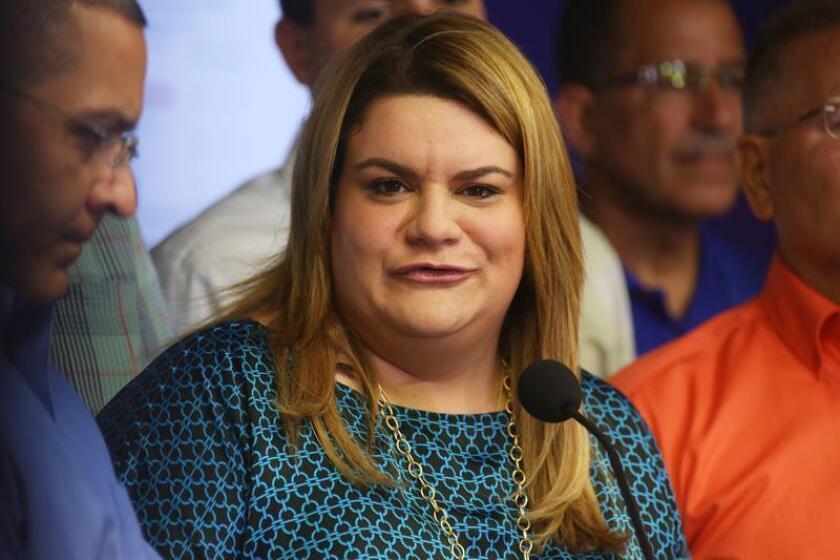 La comisionada residente en Washington Jennifer González habla durante una rueda de prensa. EFE/Archivo