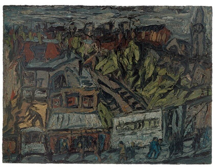 """Shown is Leon Kossoff's 1974 oil painting """"View of Hackney With Dalston Lane, Dark Day."""""""