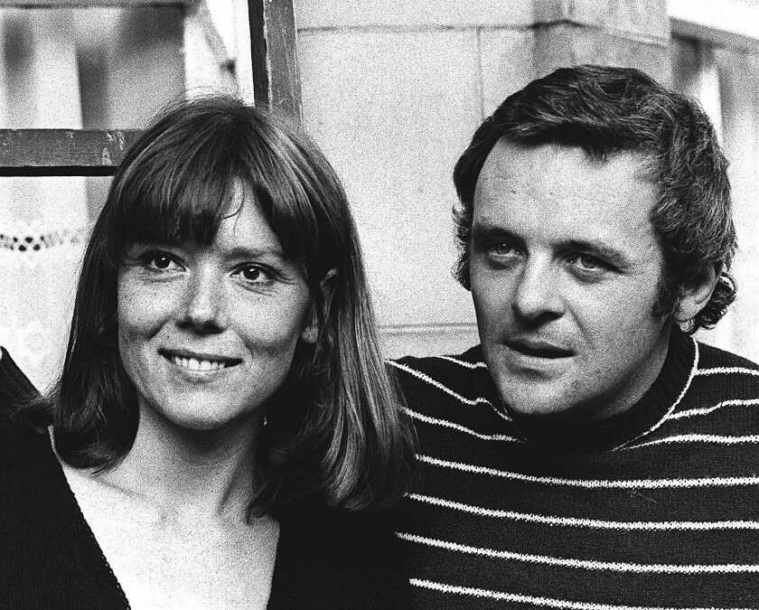 Actors Diana Rigg and Anthony Hopkins in 1972.