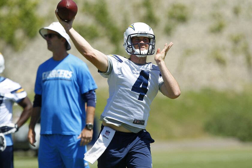 Chargers Brad Sorensen throws a pass during a mini camp practice.
