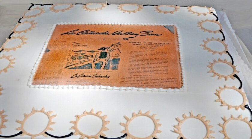 This cake, decorated with an edible reproduction of the La Cañada Valley Sun's first front page, was enjoyed by guests at Lanterman House during the paper's 70th birthday party celebration on April 3, 2016.