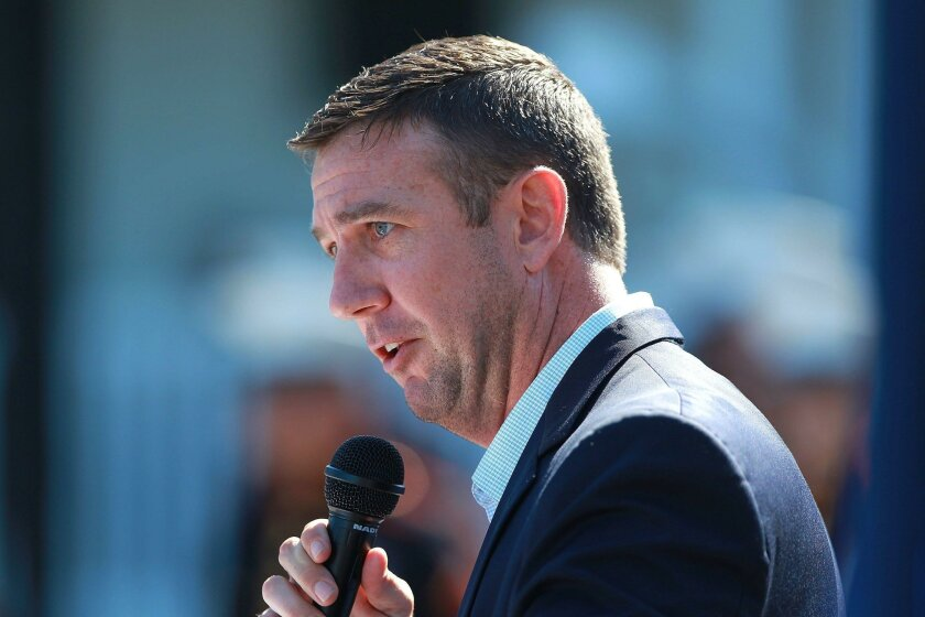 San Diego congressman Duncan Hunter, speaks in June 2015 at ceremony at Camp Pendleton. He has asked Secretary of State John Kerry to assist the U.S. tuna fleet to regain fishing rights in the western Pacific Ocean.