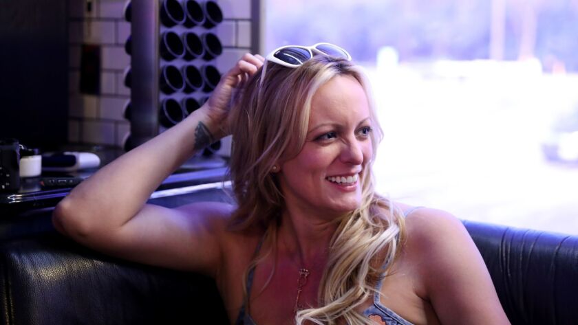 Stormy Daniels speaks during a Chicago Tribune interview in her tour bus in Rosemont on June 16, 2018.