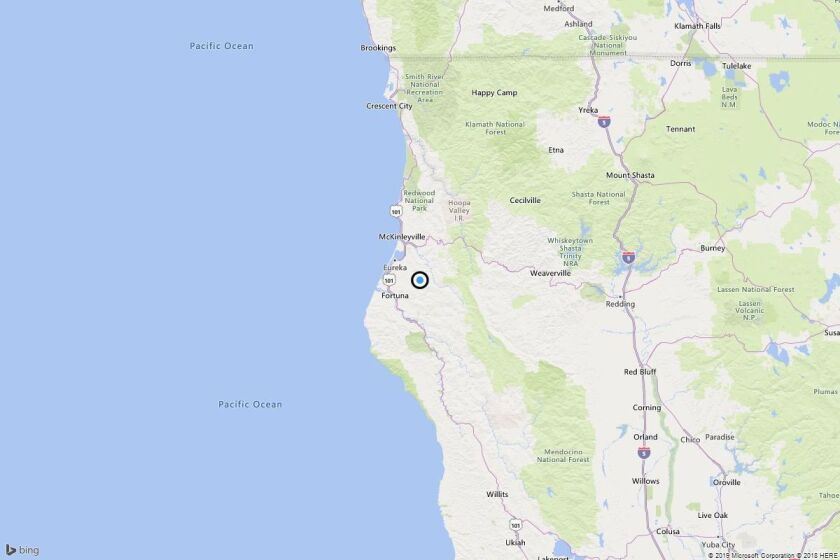 A map showing the location of the epicenter of Tuesday morning's quake near Pine Hills, Calif.