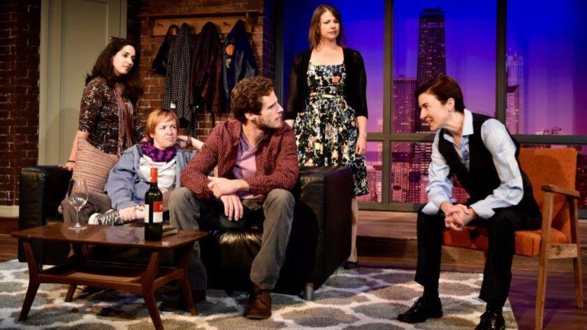 "Anna Rebek, left, Katherine Harroff, Connor Sullivan, Sarah Karpicus and Jo Anne Glover star in ""The Kid Thing"" at Moxie Theatre."