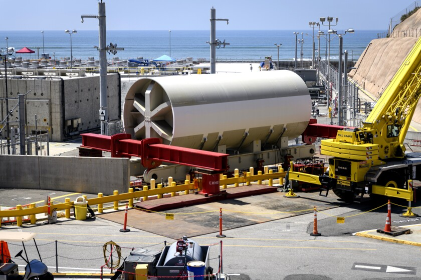 A 770-ton steel cylinder that holds a reactor pressure vessel at the now-shuttered San Onofre Nuclear Generating Station.