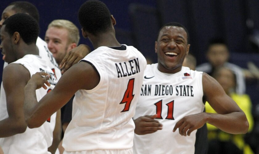 San Diego State guard D'Erryl Williams (11) celebrates with guard Dakarai Allen (4) during a timeout in the second half against Charleston.