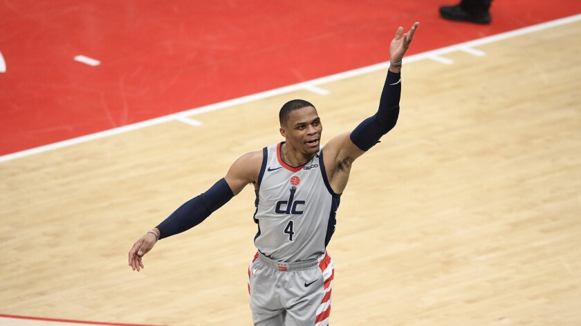 Washington Wizards guard Russell Westbrook reacts.