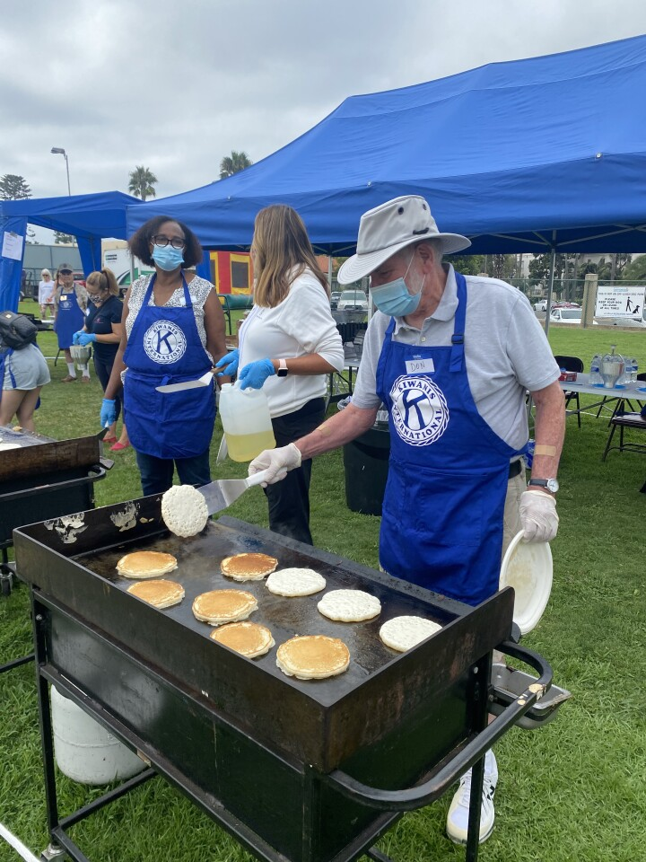 Don Hodges mans the griddle during the club's 57th pancake breakfast Sept. 18 at the La Jolla Recreation Center.