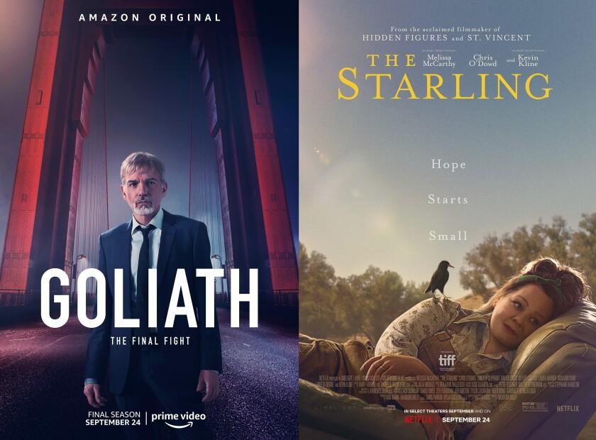 """En esta combinación de fotos, el arte promocional de la serie """"Goliath"""" de Amazon Prime Video"""