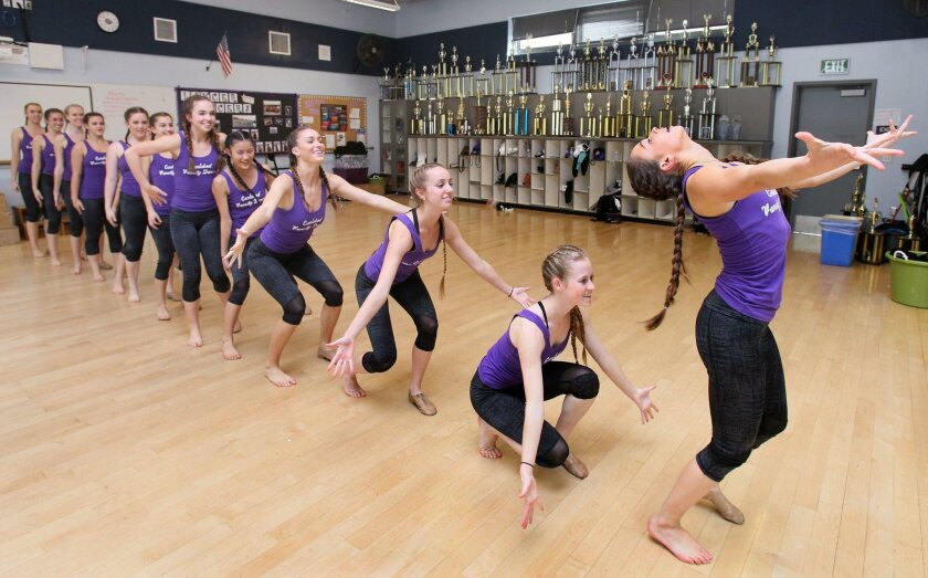 February 5, 2016, Carlsbad, California, USA_  Carlsbad High School's Lancer Dancers perform a jazz song. The team recently won 1st. place in the World High School Hip Hop category at the recent Universal Dance Association competition in Orlando, Florida.  _Mandatory Photo Credit: Photo by Charlie Neuman/San Diego Union-Tribune/©2016 San Diego Union-Tribune, LLC