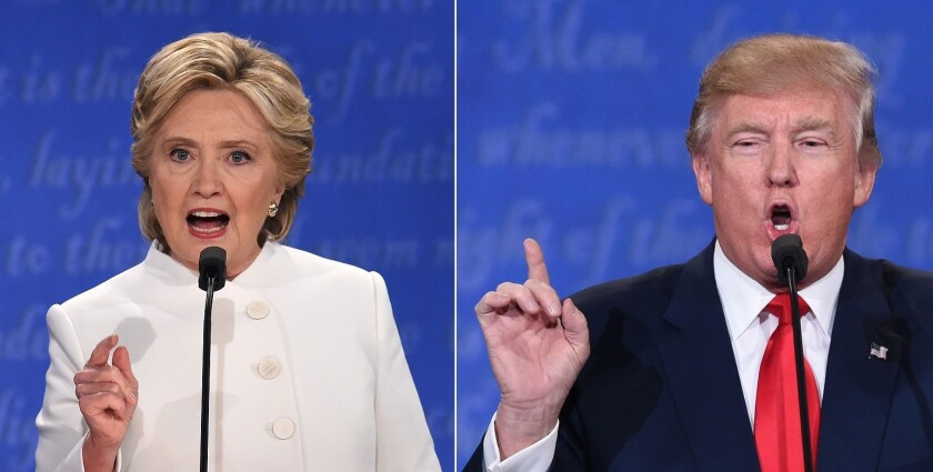 Hillary Clinton and Donald Trump during a debate in 2016. Trump has accused Democrats of colluding with Russia.