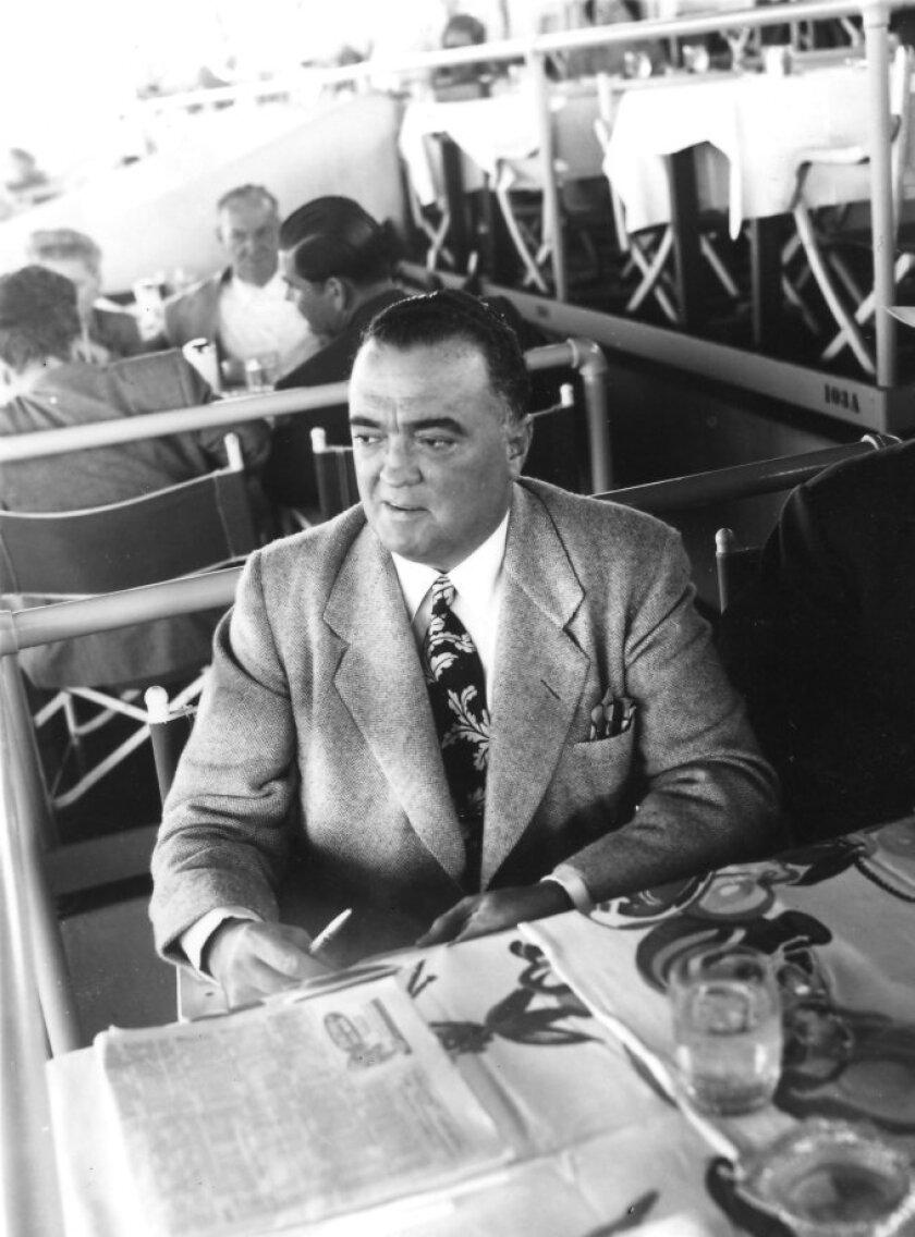 J. Edgar Hoover at Del Mar in Turf Club in 1947.